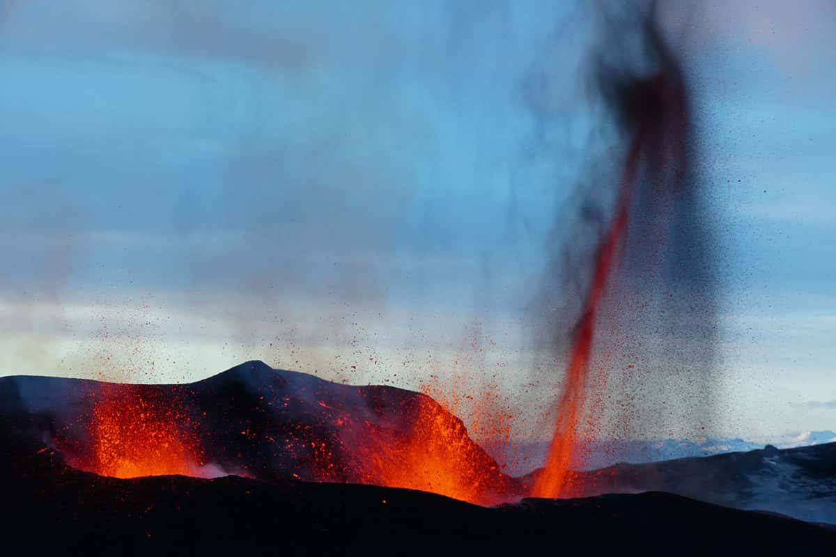 A scenery of volcanic eruption.