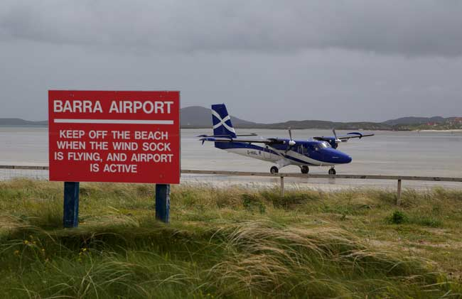 Barra Airport is the smallest airport in the UK, the EU and is the only one with sand runways.