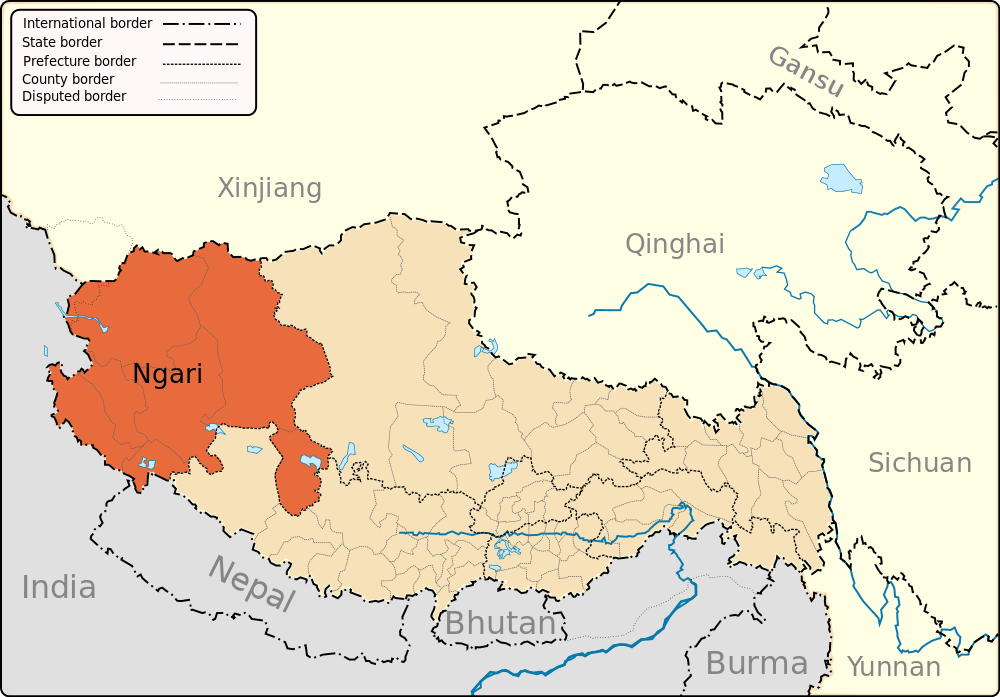 A map showing the location of Ngari.