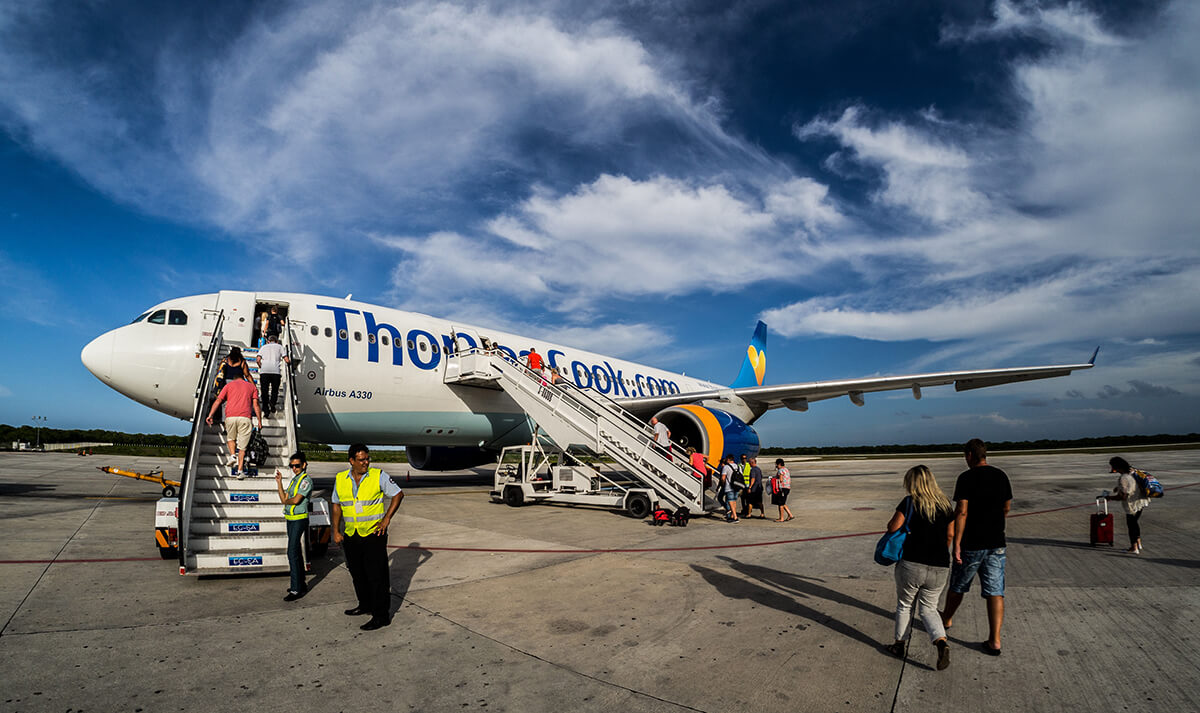 Boarding preparations of Thomas Cook airplane.