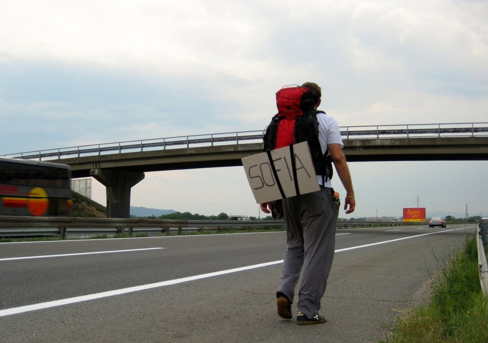 Tom Perko hitchhiking in Bulgaria