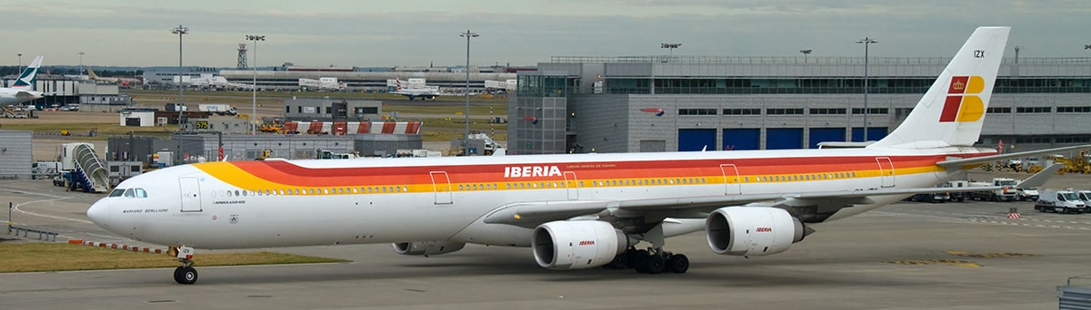 An Iberian aircraft taxiing on the runway.
