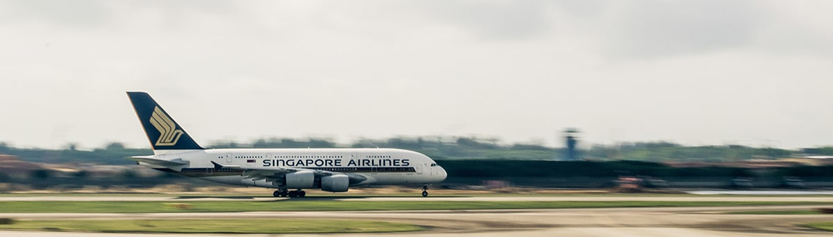 Singapore Airlines aircraft on the runway preparing for take off.